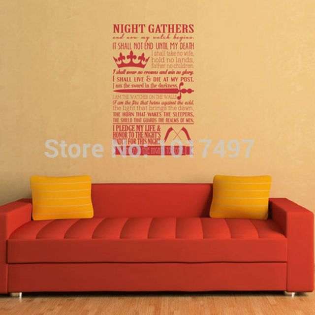 A Song of Ice and Fire – Game of Thrones Poster Night's Watch Oath Vinyl Wall Art Decal Stickers, 90x60cm free shipping