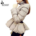 SESOAF New Ruffles Sashes Zippers Long Sleeve Warm Mini Casual Women Winter Outerwear Coats