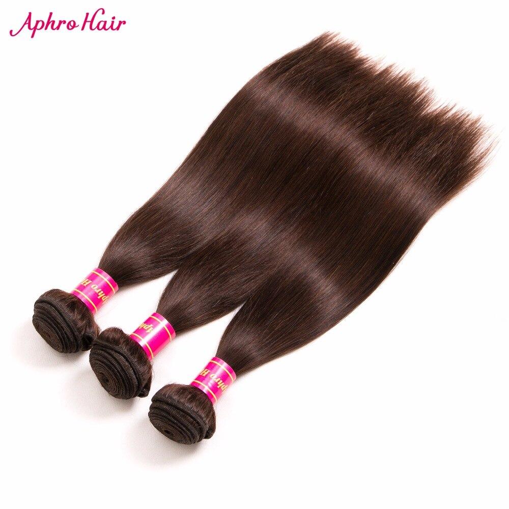 Aphro Hair Brazilian Straight Hair Dark Brown Color 2 Non Remy Hair Bundles 100 Human Hair
