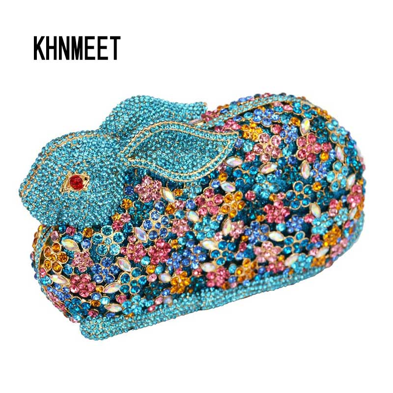Lovely rabbit shape party bags ladies animal Clutch bags Luxury crystal pochette wedding bags women evening