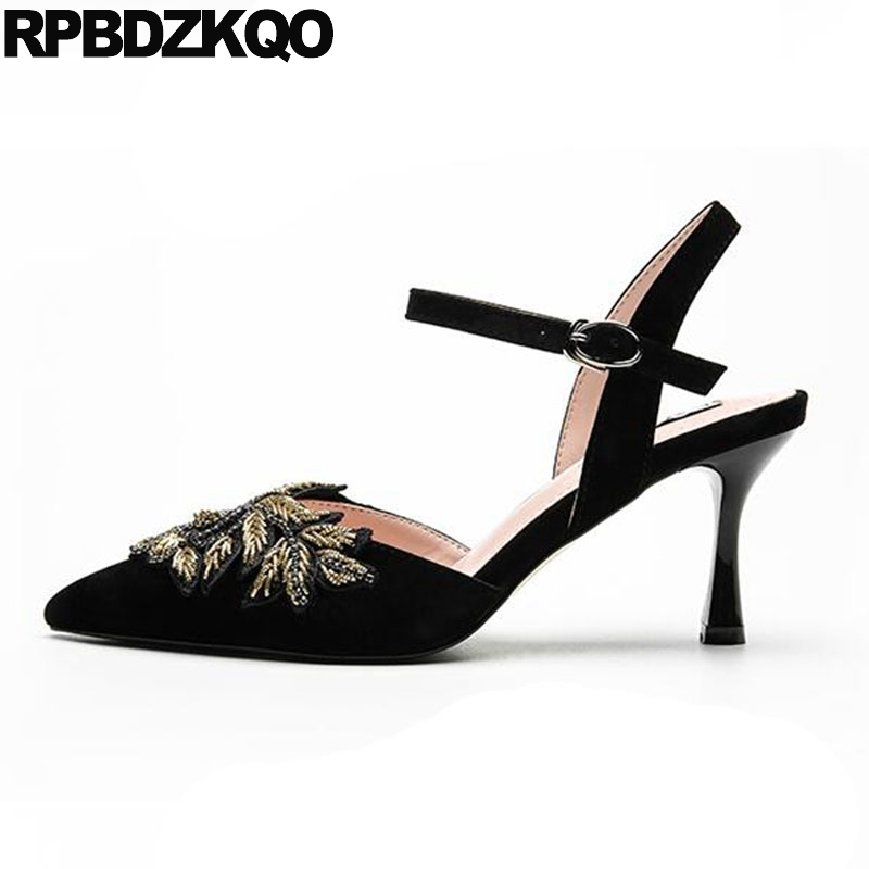Suede Stiletto Flower Slingback Women Ankle Strap Dress Shoes Floral Embroidery High Heels Pumps Embroidered Pointed Toe Sandals simple women s dolman sleeves floral embroidered dress
