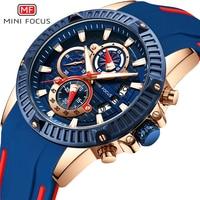 MINIFOCUS Fashion Sports Watch mężczyźni wodoodporne silikonowe zegarki mężczyźni luksusowa marka męskie zegarki kwarcowe zegarki męski zegar w Zegarki kwarcowe od Zegarki na