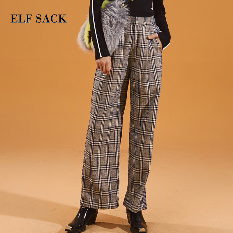 ELF SACK Autumn New Woman   Pants   Casual Woven Plaid Mid Women   Wide     Leg     Pants   Chic Vintage Full Length Femme Skinny Trousers