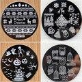 Navidad de halloween calabaza redonda búho de acero inoxidable placas de uñas nail art sello estampado de imagen konad stamping manicura plantilla