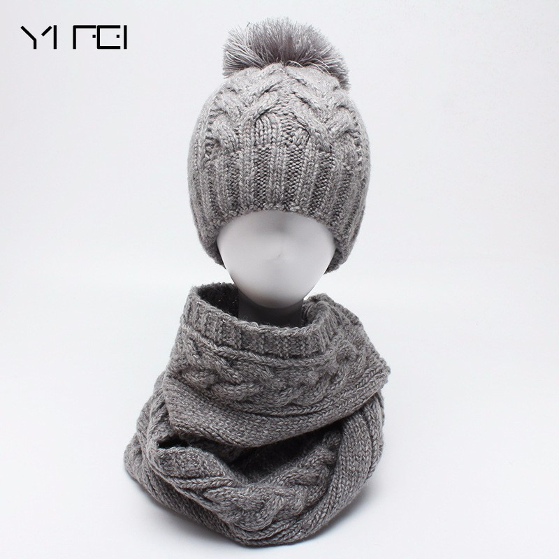 2018 Fashion Knit Winter Scarf Hat Winter Warm Hat For Women Girl Beanies Thick Female Bonnet Scarf Set Women Scarf Comfortable