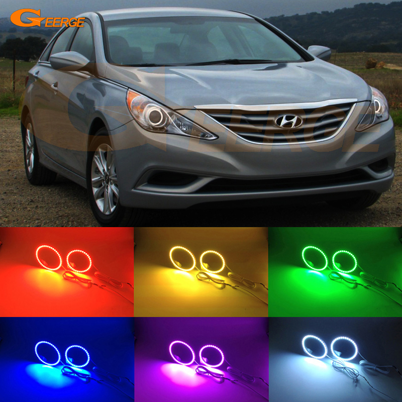 For Hyundai Sonata i45 2011 2012 2013 2014 Excellent Angel Eyes Multi-Color Ultra bright RGB LED Angel Eyes kit Halo Ring for lifan 620 solano 2008 2009 2010 2012 2013 2014 excellent angel eyes multi color ultra bright rgb led angel eyes kit