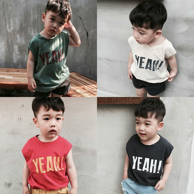 Boy T-Shirt Clothing Girls Tops Print Baby Kids Cotton Sleeveless Summer New Letter YEAH