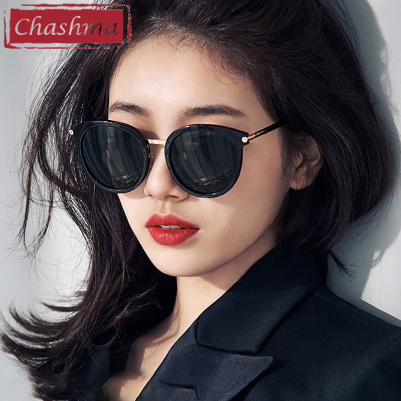 Polarized Prescription Sunglasses Myopia Women Black Retro Round Fashion Mirror Gafas