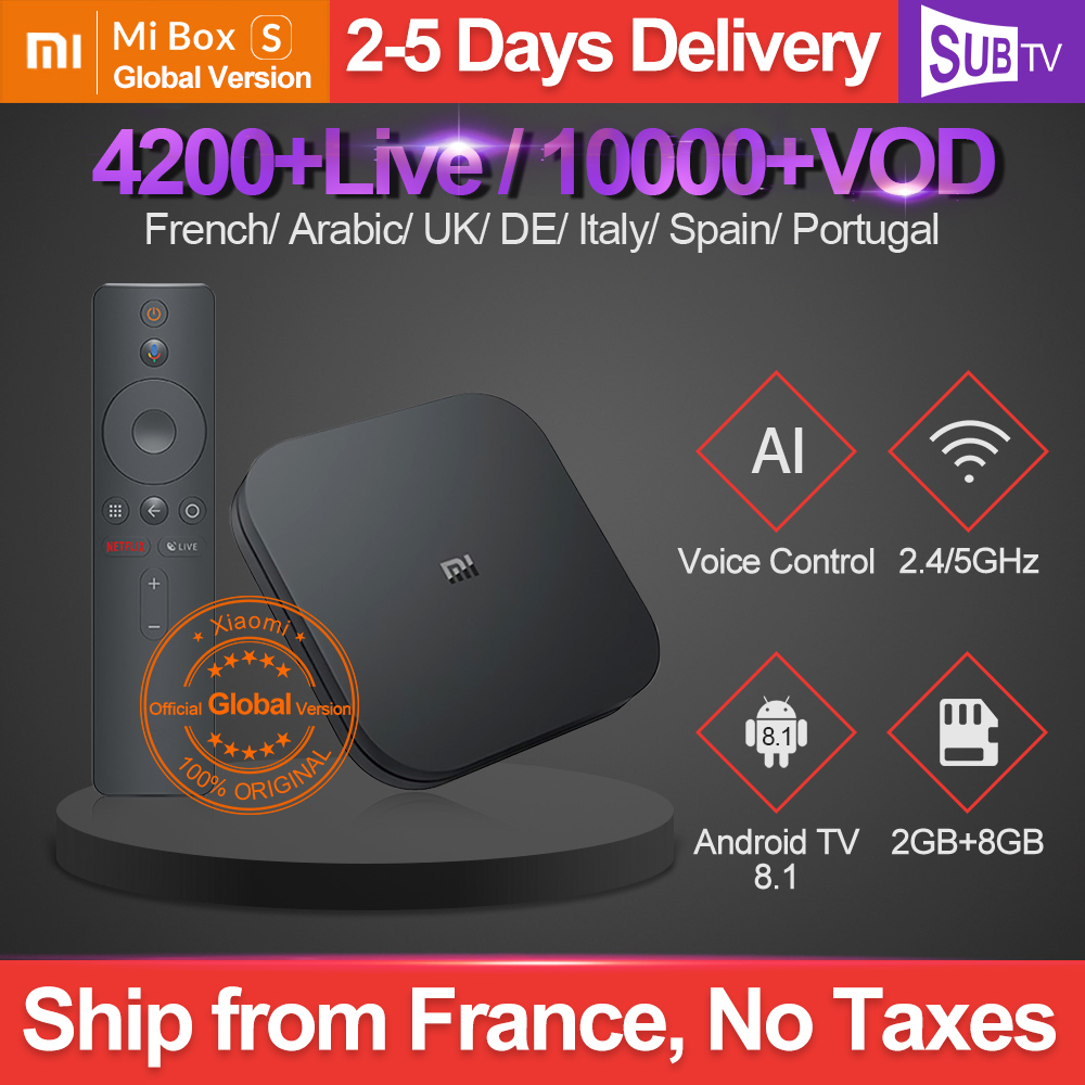 Mi Box S IPTV French Italian SUBTV Arabic English IPTV Subscription Xiaomi Box 4K IPTV Spanish