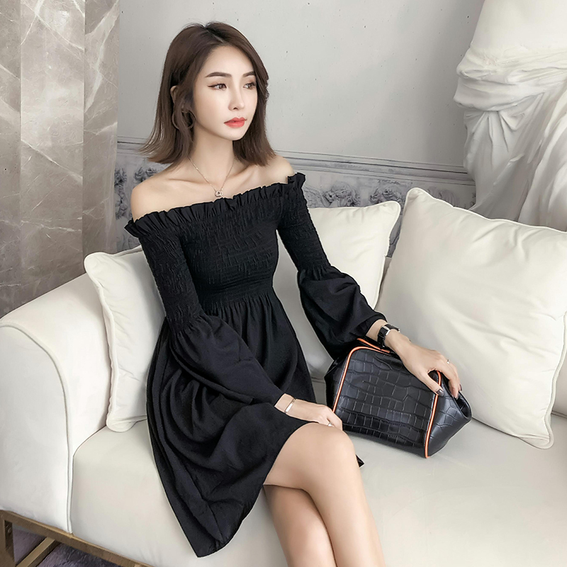 new moda designer feminina sexy dress women party Solid off shoulder korean ulzzang hollow out vintage Autumn chic Above Knee Рубашка