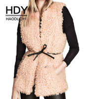 HDY Haoduoyi Sleeveless Coat Woman 2018 Autumn Faux Wool Fur Waist Tie High Street Personality Chinese Prairie Style Coat