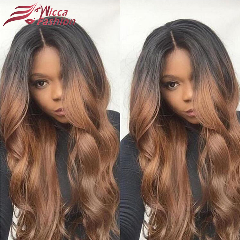 Ombre Body Wave Human Hair Full Lace Wigs Raw Indian Remy