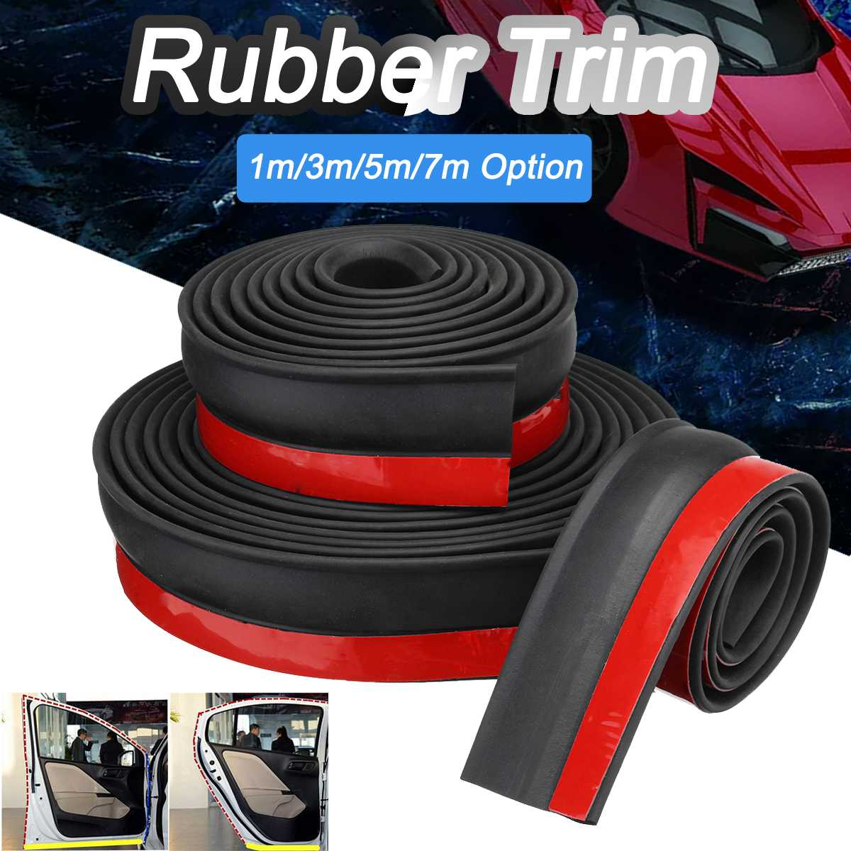 1m/3m/7m Garage Door Bottom Weather Stripping Rubber Sealing Strip Replacement Adehesive Door Bottom Seal