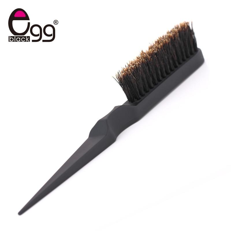 Black Egg Salon Hair Brushes Comb Slim Line Teasing Combing Brush Styling Tools DIY Kit Professional Plastic Hairdressing Combs