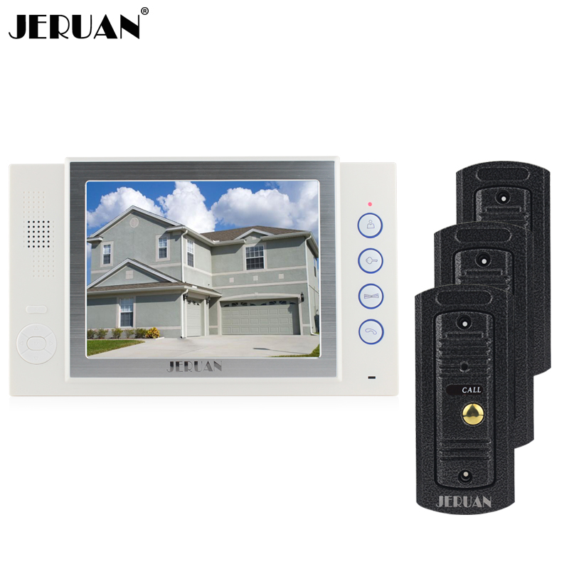 JERUAN Wired 8 inch video door phone Recording intercom system 3 metal Pinhole camera 1 monitor Open three doors 8G SD Card jeruan 8 inch video door phone high definition mini camera metal panel with video recording and photo storage function