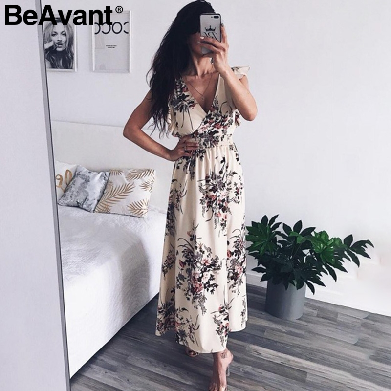 BeAvant Ruffles backless bow floral print dress Women v neck beach maxi dress female Casual boho summer dress vestidos 2018
