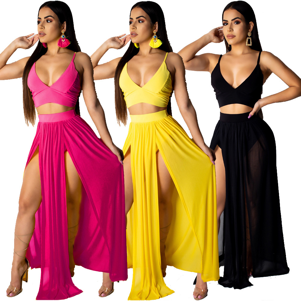 New Two Pieces Summer Dress Yellow Rose Black Solid Crop Top And Dresses For Women Summer Sexy Clothes Chic Hot Ladies Clubwear