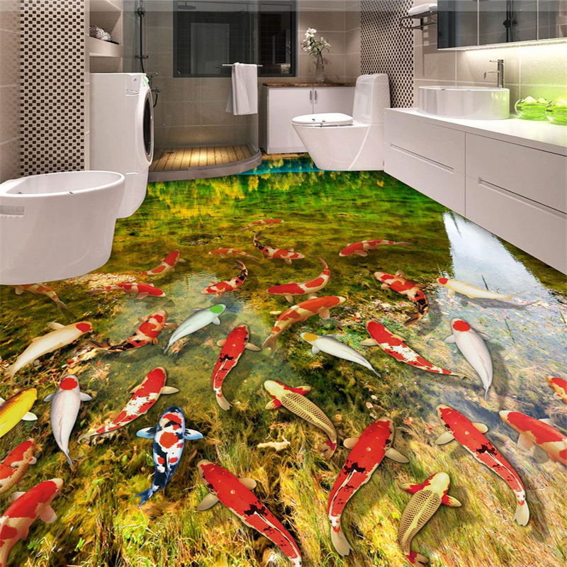 beibehang 2017 new atmosphere pvc wall paper lake water carpet bathroom bedroom 3d flooring papel de parede wallpaper wall 3 d