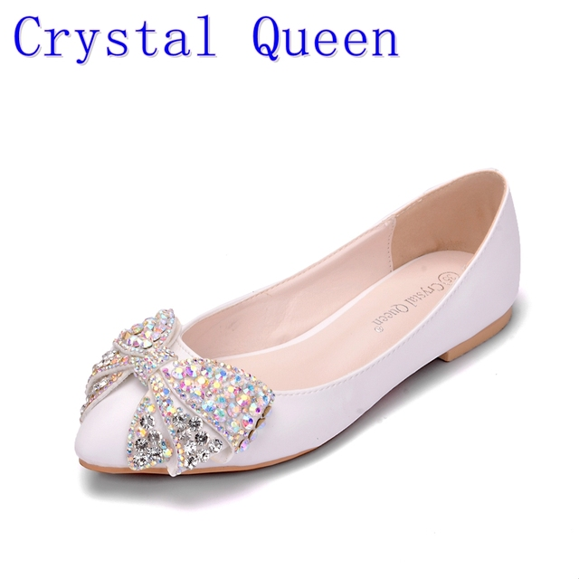 Crystal Queen Fashion Flats Women Wedding Shoes Flat Heel Pointed Toe  Rhinestone Butterfly-knot Sweet