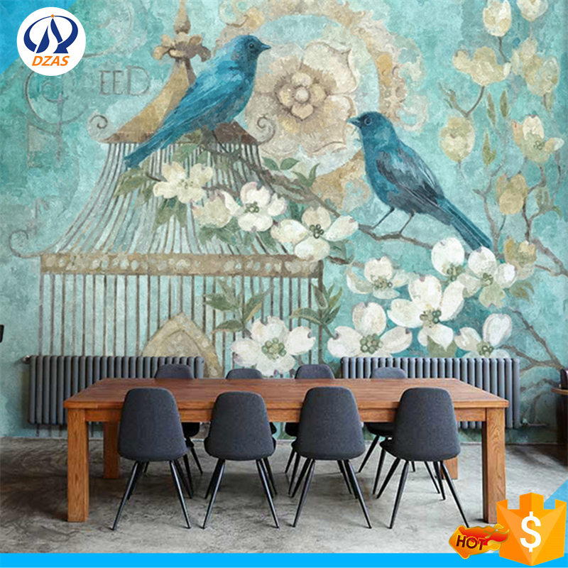 Hand-painted European wallpaper TV background wall paper bedroom birdcage flowers large murals WH-Mural hand painted silk wallpaper painting lotus with birds hand painted wall paper wallcovering many pictures backgrounds optional