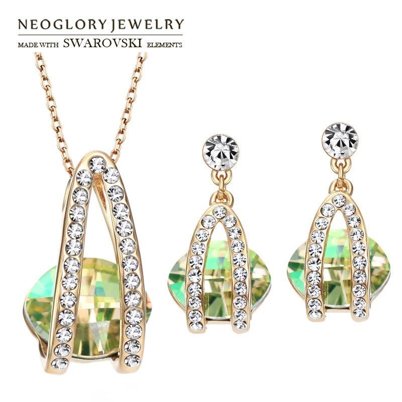 Neoglory Jewelry-Set Earrings Necklace Crystal Rhinestone Elegant Women Czech Austria