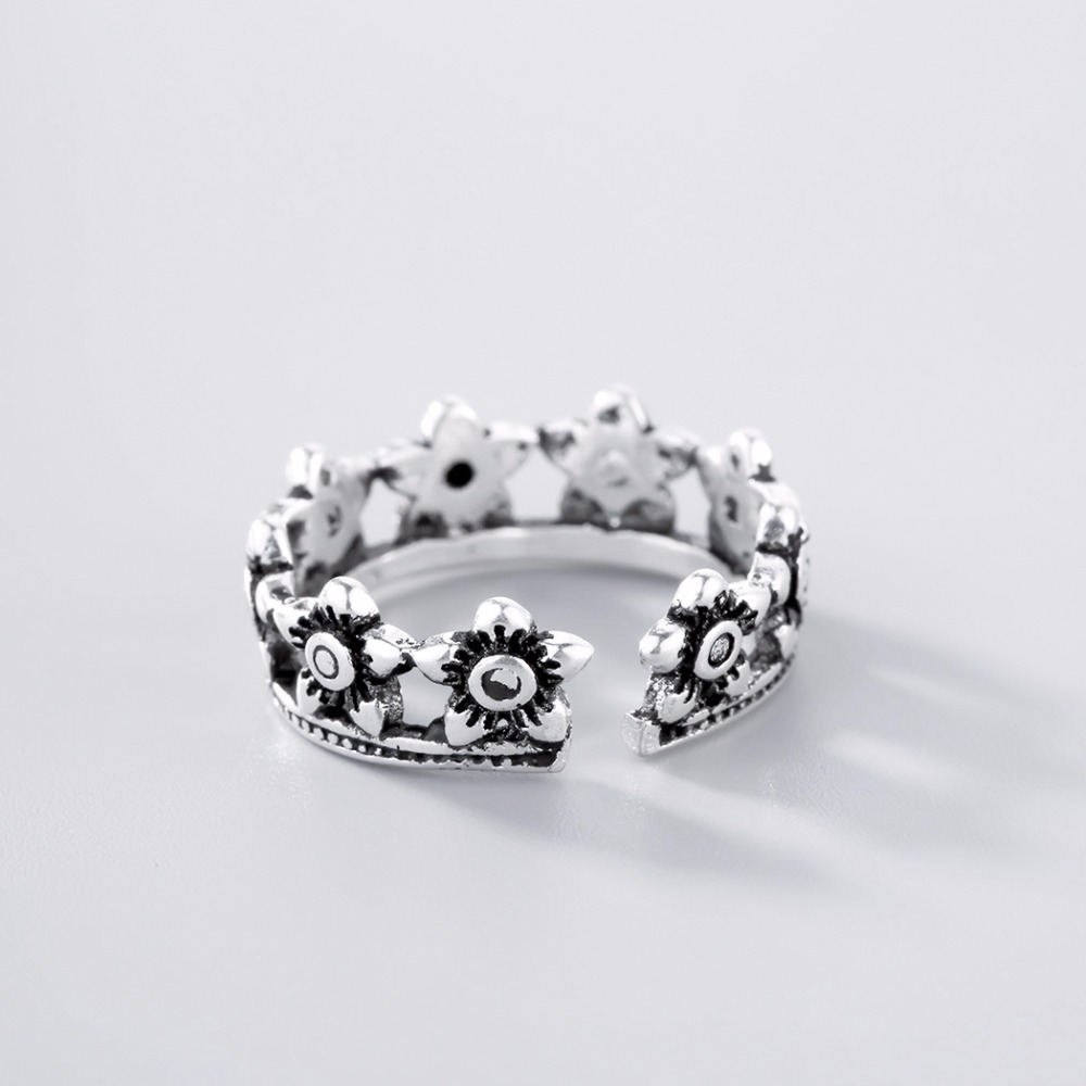 Kinitial new arrival thai silver flower crown star rings for women kinitial new arrival thai silver flower crown star rings for women wedding original finger round ring fashion vintage jewelry in rings from jewelry izmirmasajfo