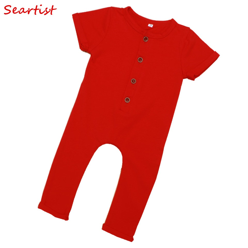 Seartist Girls Boys Summer Romper Baby Girl Boy Harem Jumpsuit Toddler Kids Plain Color Fashion Tank Jumper 2018 New Arrival 38