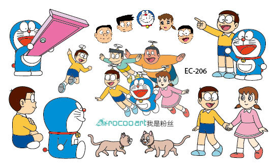 2 sheets Disposable waterproof small fresh color Doraemon cartoon cute face waterproof tattoo stickers EC-206