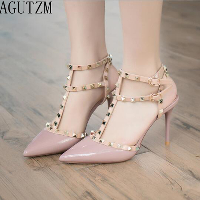 Sexy Hasp Rivet heels Female leather high-heeled pumps Stiletto heel 9 cm Pointed Toe Hollow Ventilation Shoes woman V675