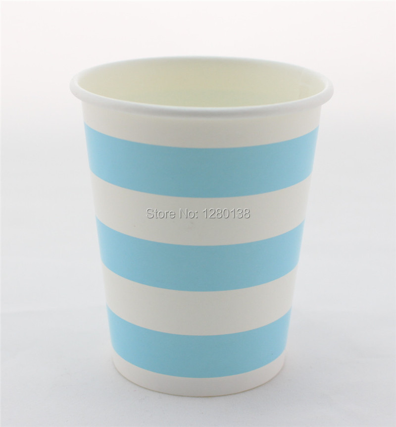 Party Supplies <font><b>9</b></font> oz <font><b>Blue</b></font> Striped <font><b>Paper</b></font> <font><b>Cups</b></font> for Wedding Anniversary