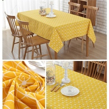 Yellow Chessboard Decorative Table Cloth Cotton Linen Tablecloth Dining  Table Cover For Kitchen Home Decor(