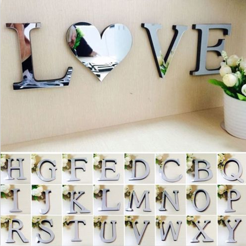 3D DIY Wall Stickers Acrylic Mirror Wall Sticker Alphabet English letters Home Decoration Creative Personality Special Decor(China)