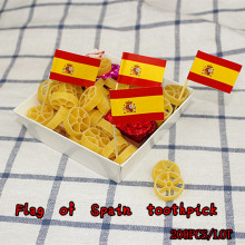 freeshipping 200pcs/lot Flag of Spain toothpick chicken fruit cake decoration Cup Cake bamboo toothpick