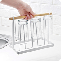 Practical iron 6 Cups mug stand holder drying Shelf with wooden handle Kitchen Wine Glass Storage Rack home storage accessories