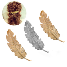 1Pcs Fashion Metal Leaf Shape Hair Clip Barrettes Crystal Pearl Hairpin Barrette Color Feather Claws Styling Tool
