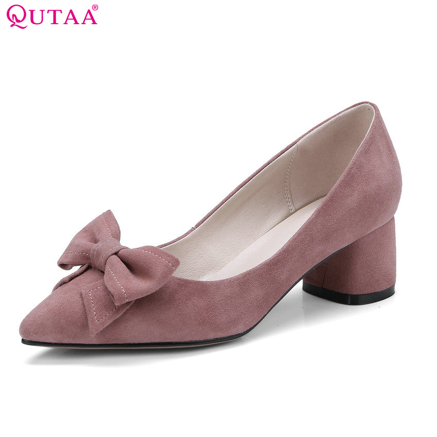 c2d03ba8d8d QUTAA 2018 Women Pumps All Match Fashion Slip on Bow Tie Cow Suede Pointed  Toe Square Heel Ladies Wedding Pumps Size 34-43