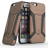 Brown Armor Stand Anti-Slip Impact Resistant Protective Case Cover For Apple Iphone 6 6S Plus TPU+PC 2in1 Mobile Phone Cases