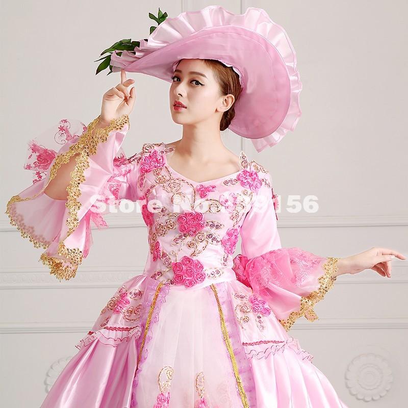 42de8eeddadb Elegant Pink Lace Printed Civil War Southern Belle Dress Rococo ...