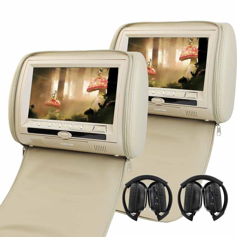 9 Inch Car Headrest Monitors LCD Screen Dual DVD Player Built In IR FM Transmitter 2
