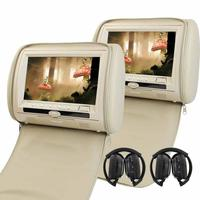 9 Inch Car Headrest Monitors LCD Screen Dual DVD Player Built In IR FM Transmitter 2