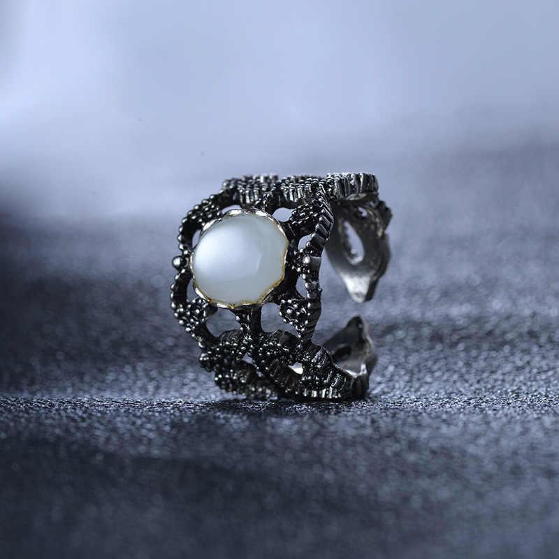 Retro Rỗng Viền Trắng Opal Đá Có Thể Điều Chỉnh Mở Nhẫn Bạc cho Nam Nữ