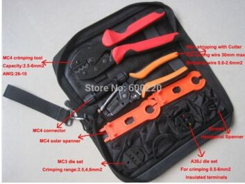 Solar PV MC4 Crimping tool kits for MC4 MC3 solar connector(2.5~6.0mm2) with cable cutter crimp 26-10AWG pins solar crimping tool kits with 2 5 6 0mm2 crimping tool mc3 mc4 crimping die solar tool set with mc4 mc3 crimper stripper cutter