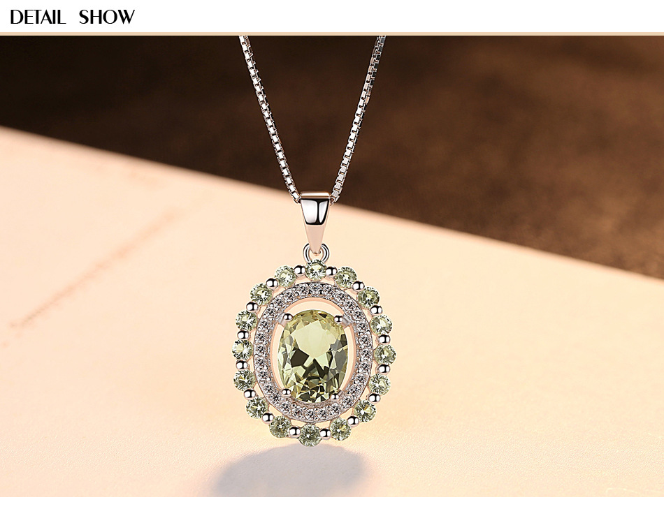 New S925 Sterling Silver Necklace Olive Emerald Fashion Accessories CS08