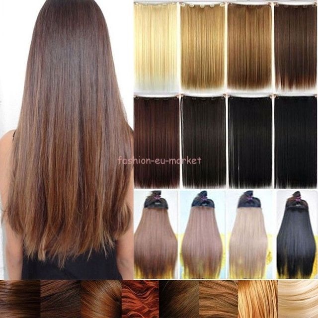 30 Inch Straight One Piece Clip In Half Full Head Hair Extensions 5