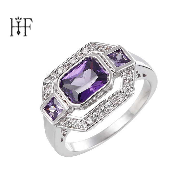 Silver Color Classic Purple Crystal Bijoux Fashion Cocktail Engagement Ring Cubic Zirconia Jewelry For Women As Love Gift