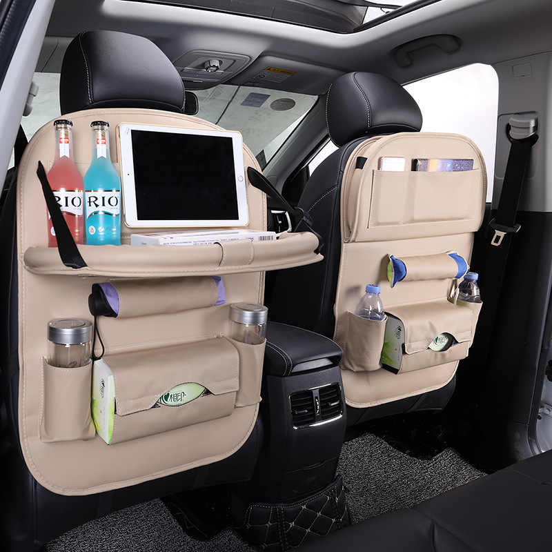 2 Pcs Pu Leather Car Back Seat Organizer Tray Auto Opbergtas