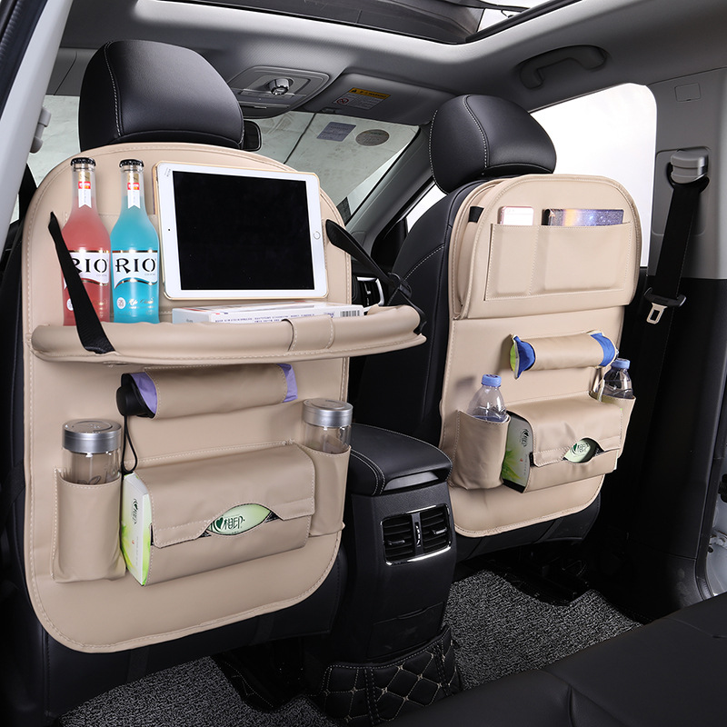 Organizador de Asiento trasero de coche de cuero PU accesorios de bandeja de Asiento de coche organizador de Asiento de coche