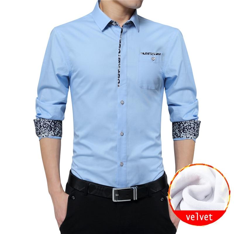 BROWON Mens Fashion Winter Shirt Men Turn down Collar Long Sleeve Party Wedding Shirt Warm Velvet Men Clothes 2018 Plus Size