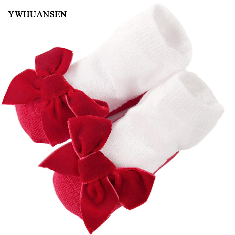 YWHUANSEN Autumn Winter Bowknot Baby Girls Socks Cotton Spring Socks For Children Princess Socks For Newborn Baby Clothing Meias