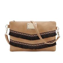 Vintage PU leather tassel bag for women cross body shoulder messenger bag sac a main femme de marque bolsas femininas small bags